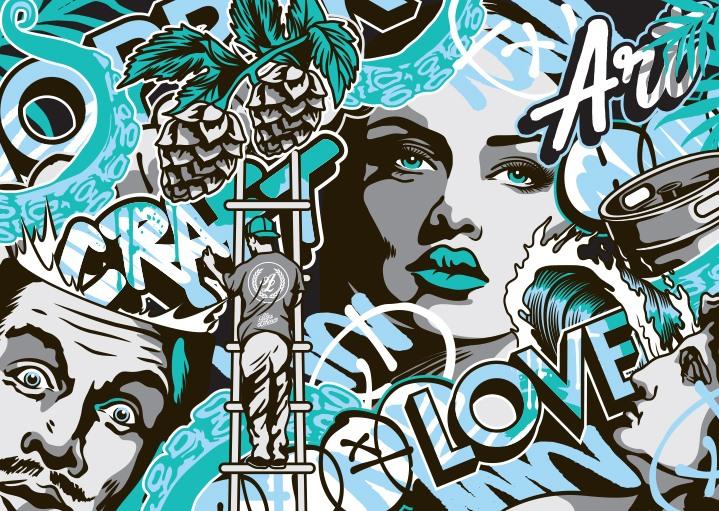 Artist pattern teal